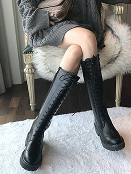 Bandage Zipper Up Black Mid Calf Boots