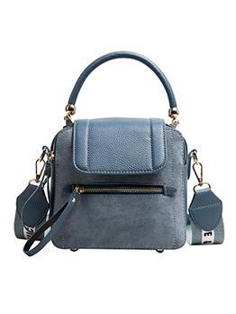 Matt Patchwork Letter Wide Belt Shoulder Bag With Handle