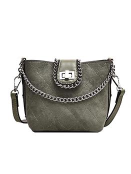 Suede Thread Rhombus Chain Crossbody Shoulder Bag