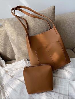 Minimalist Pure Color Pu Two Piece Shoulder Bag