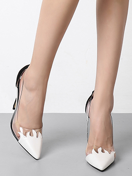 Patchwork Contrast Color Stiletto Heels