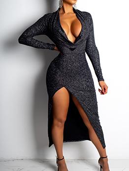 Deep V Split Long Sleeve Midi Dress