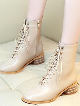 British Style Bandage Chunky Heel Ladies Boots