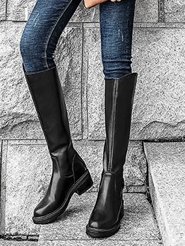 PU Black Chunky Heel Mid Calf Boots