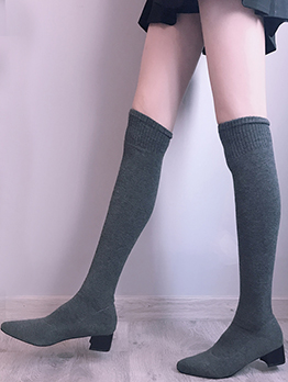 Pure Color Sock Thigh High Boots