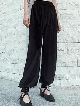 Lace Up Hem High Waist Velvet Pants
