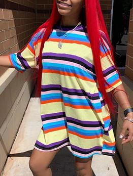 Loose Rainbow Striped Long Sleeve Dress