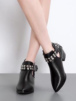 Rivet Buckle Strap Chelsea Boots