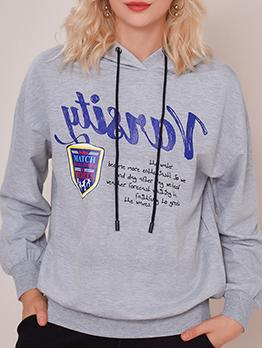 Letter Design Gray Loose Hoodies For Women