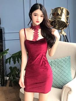 Velvet Short Halter BodyCon Dress