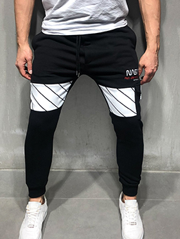 Leisure Contrast Color Drawstring Jogger Pants
