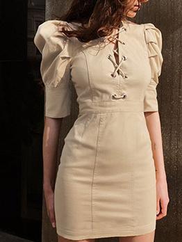 V Neck Puff Sleeve Lace Up Khaki Ladies Dress