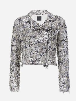 Boutique Snake Print Rhinestone Tassel Jackets For Women