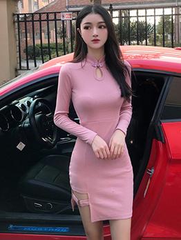 Vintage Mandarin Collar Long Sleeve Fitted Dress