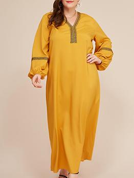Lantern Sleeve Loose Yellow Plus Size Maxi Dress