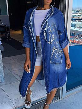 Fashion Hooded Long Sleeve Denim Long Coat