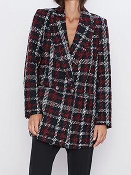 OL Style Long Sleeve Plaid Blazer