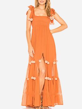 Off Shoulder Hair Ball Decor Boho Maxi Dress