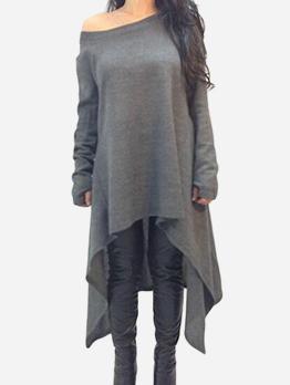 Winter Irregular Hem Solid Long Sleeve t-Shirt