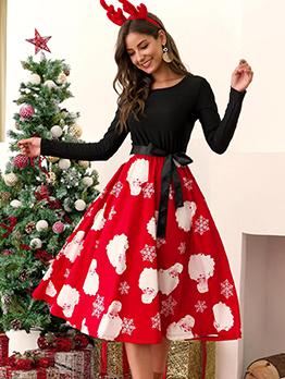 Printed Long Sleeve Patchwork Maxi Dress