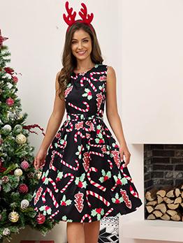 O Neck Christmas Sleeveless Printed Dress