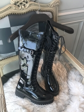 Bandage Patent Leather Black Mid Calf Boots