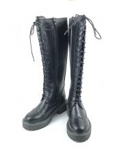 Bandage Zipper Up Black Mid Calf Boots