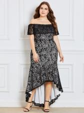 Off Shoulder High-Low Lace Casual Maxi Dresses