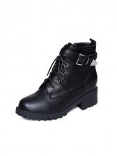 Bandage Buckle Strap Black Boots