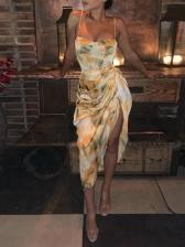 Sexy Draped Slip Women Midi Dress