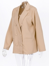 Minimalist Solid Button Up Ladies Autumn Blazer