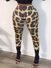 Colored Animal Print Skinny Long Pants For Women