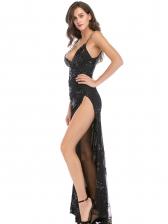 Sexy Split Slip Women Sequin Maxi Dress