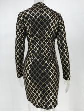 Fashion Plaid Long Sleeve Sequin Dress