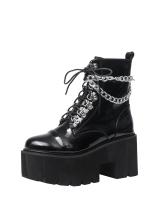 Punk Style Patent Leather Chian Platform Boots