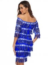 Off The Shoulder Tassels Sequin Dress