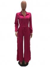 Agaric Laces Solid Color Wide Leg 2 Piece Pants Set