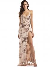 Back Criss Cross Split Sequin Maxi Dress