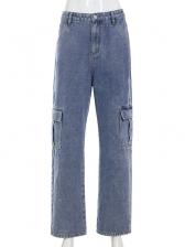 High Waist Multi-Pocket Denim Cargo Pants