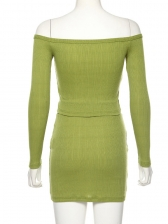 Single Breasted Green Off The Shoulder 2 Piece Skirt Set