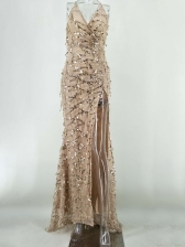 Sexy Backless Sequined Maxi Slit Party Dresses