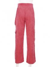 Casual Loose Corduroy Cargo Pants