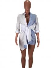 Stylish Contrast Color Striped Long Sleeve Shirt Dress