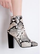 Side Zipper Thick Heel Snakeskin Boots