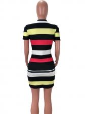 Stylish Lip Printed Striped Short Sleeve Dress