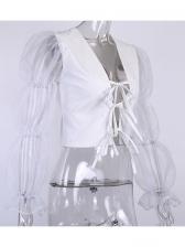 Organza Lace Up Patchwork Ladies Blouse