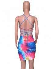 Back Criss Cross Beading Sleeveless Dress