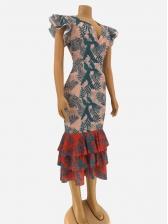 Low-cut Ruffled Hem Print Sleeveless Maxi Dress
