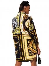 Turndown Neck Animal Printed Long Sleeve Shirt Dress
