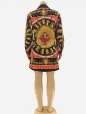 Loose Vintage Print Long Sleeve Shirt Dress